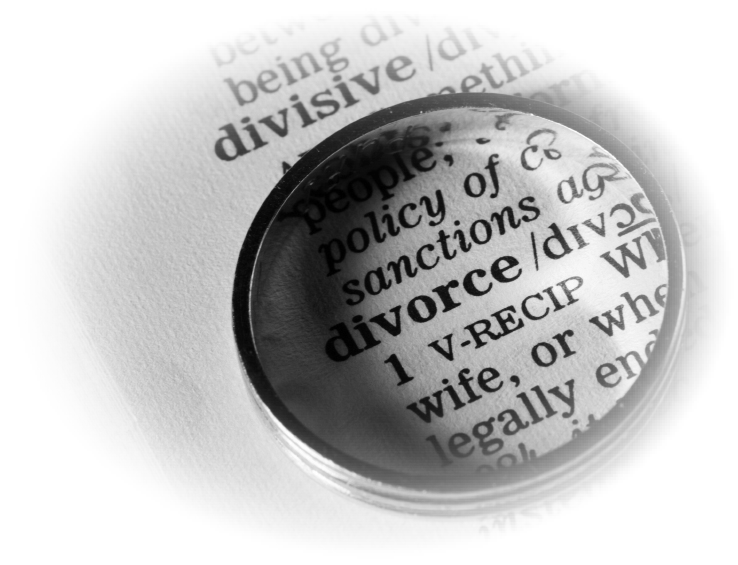 wedding ring over word divorce in dictionary